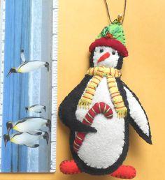 Candy Cane Ken Fabric Penguin Ornament