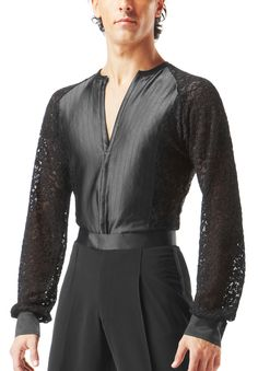 Taka Mens Lace Latin Dance Shirt MS185B| Dancesport Fashion @ DanceShopper.com
