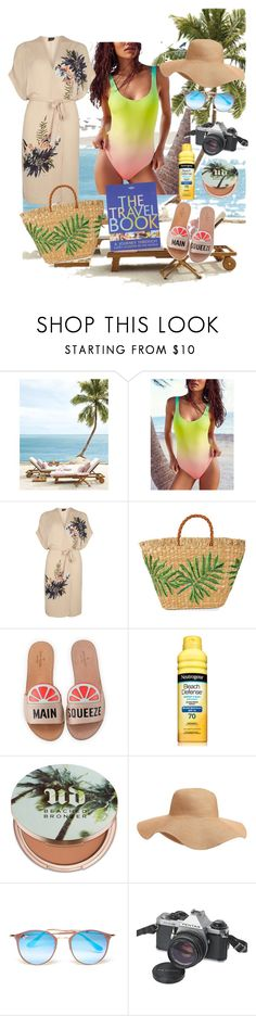 """""""Out in the Beach #swimwearset"""" by polinavee ❤ liked on Polyvore featuring Free People, Dorothy Perkins, Aranáz, Kate Spade, Urban Decay, Old Navy, Ray-Ban, Pentax and Lonely Planet"""