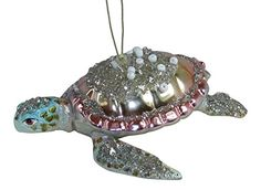 December Diamonds Pastel Blown Glass Embellished Sea Turtle Christmas Ornament