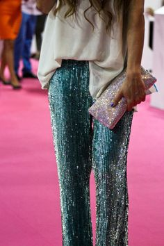 Love the sequin pants & sparkly bag ~ ~ PANTS Manoush, BLOUSE Topshop, BAG Accesorize