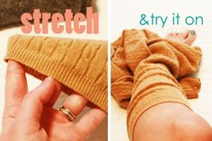 DIY Boot Cuffs from thrift store sweater, add lace trim (what a cool and easy idea. Love it!--Misty)