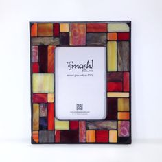 Pastiche: Fire 5x7 Stained Glass Mosaic Frame by smashglassworks