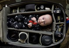 Portraits of Babies in Camera Bags