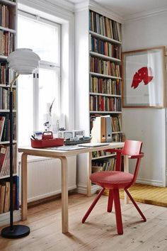 Rival chair by Konstantin Grcic, A808 floor lamp and Table 80A by Alvar Aalto from Artek