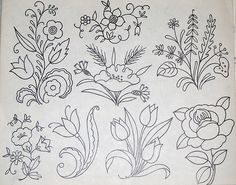 Vintage embroidery patterns - roses, tulips, other flower sprigs