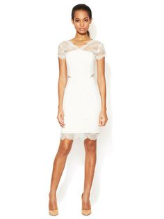 Nel Jersey Sheath Dress with Lace Accents