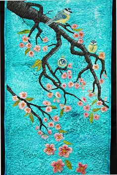 hand painted silk applique quilt