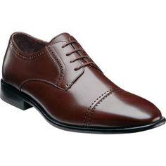 Brown cap toe langham style shoe by Stacy Adams.