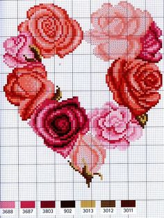 Roses heart-shaped wreath cross stitch pattern and color chart.