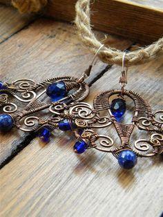 Handmade Wire wrapped Earrings  Blue Copper  by ChervlenyYar, $45.00