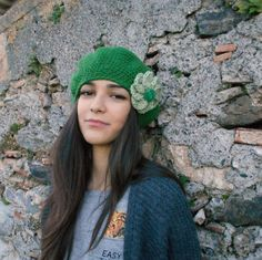 merino  slouchy beanie hat - womens winter wool beanie - green sloucy hat -  Valentines gift for her