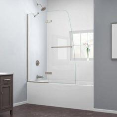 DreamLine Aqua Ultra 48 in. x 58 in. Frameless Pivot Tub/Shower Door in Brushed Nickel - SHDR-3448580-04 - The Home Depot
