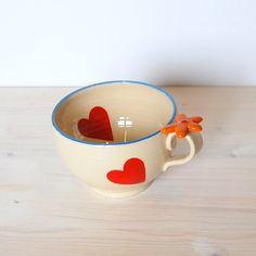 Heart cup Colorful cup Whimsical cup One of a kind by PotsbyNives