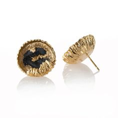 22ct gold plated Solid silver stud earrings from Niza Huang 'Petroleum  Collection' featuring sold petroleum in a magnifying glass case. Each piece  bears the Niza Huang hallmark and comes in a choice of gold plated and  solid silver. These intriguing earrings are ideal for pairing with your day