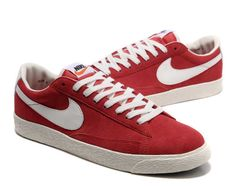 Nike Blazer Low Premium Vintage Suede Womens Shoes Red White UK Cheap Store