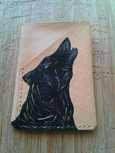 Stroller Wolf Credit Card Wallet  Trifold Leather Hand-Sewn   #leather   #wallet  #cardholder  #wolf  #etsy  #handpainted  #madeincapetown