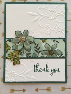 Embossed flower thank you card Making Greeting Cards, Greeting Cards Handmade, Hand Made Greeting Cards, Love Cards, Pretty Cards, Thank You Cards, Butterfly Cards Handmade, Embossed Cards, Beautiful Handmade Cards