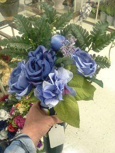 Bold blue rose grave marker