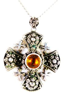 Vintage Medieval Sterling Silver Cross with by Mosaicsandjewelry, $180.00