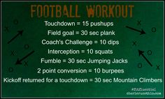Watching some football this weekend? This workout is just for you - Enjoy! Killer Workouts, Toning Workouts, Easy Workouts, At Home Workouts, Exercises, Football Workouts, Games Football, Football Season, College Football