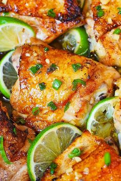 Pan-Roasted Honey Lime Chicken Thighs - one of the best chicken thigh recipes you'll ever try! I love cooking chicken thighs - they are so easy to handle, and always come Honey Chicken Thighs, Cooking Chicken Thighs, Honey Lime Chicken, Cilantro Chicken, Stove Top Chicken Thighs, Pan Roasted Chicken Thighs, Teriyaki Chicken, Chicken Breasts, Chicken Flavors