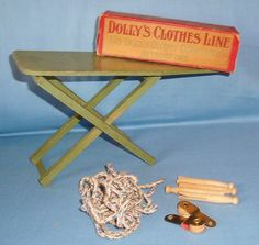Vintage Doll Wood Folding Ironing Board & Dolly's Clothes Line in Box