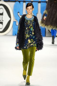 Anna Sui - Fall 2012    Green Pants!! Chartruese how I love thee.