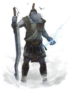 Giant, Storm (from the D&D fifth edition Monster Manual). Art by John-Paul Balmet.