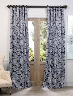 Luxury Flora Navy Blackout Curtain and Drapes