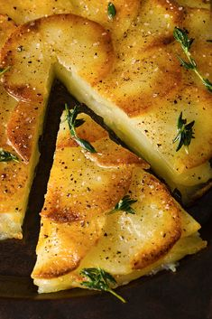 crisp potato cake (galette de pomme de terre) with garlic and nutmeg.