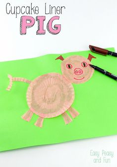 Cupcake Liner Pig Craft - Easy Peasy and Fun