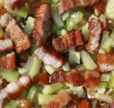 Fennel - Celery Salad with Lemon - Ginger Dressing and Bacon - Date Topping.  It h