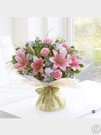 Happy Birthday Spring Rose, Lily and Freesia Hand-tied Rose Lily, Pink Lily, Spring Bouquet, Rose Bouquet, Easter Flowers, Spring Flowers, Summer Wedding Bouquets, Wedding Flowers, Bouquet Delivery