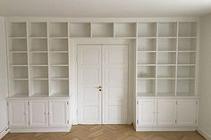 Home Library Design, Home Office Design, Billy Bookcase With Doors, Bedroom Built Ins, Home Office Cabinets, Built In Cabinets, Room Doors, Big Houses, Home Renovation
