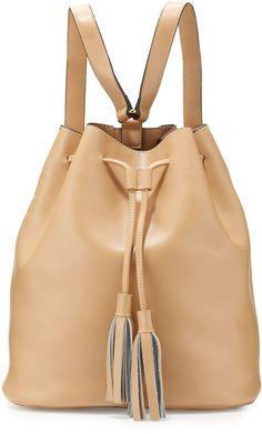 8bc03c4dc507 Neiman Marcus Jules Leather Tassel Bucket Backpack