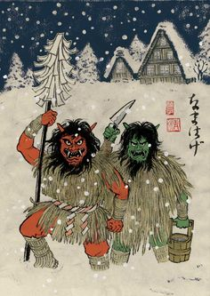 Namahage by Yuko Shimizu http://yukoart.com/work/discovery-channel-yokai-feature/