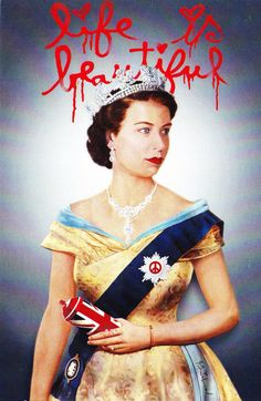 Queen with Spray Can Mr Brainwash, Spray Can, Modern Artists, Union Jack, Queen Elizabeth Ii, Caricature, Pin Up, Portrait, Celebrities
