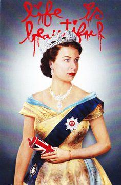 Queen with Spray Can Mr Brainwash, Spray Can, Union Jack, Queen Elizabeth Ii, Caricature, Memphis, Street Art, Pin Up, Portrait