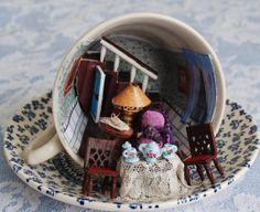 Teacup Miniature Artwork , Miss Marple Cup