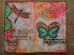 art journaling - butterly, dragonfly mixed media