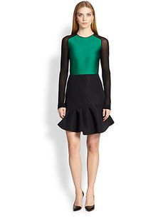 Antonio Berardi - Flared Silk-Insert Dress - Saks.com