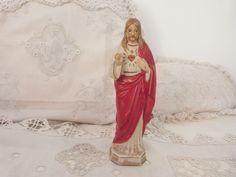 Antique French religious sacred heart of Jesus Christ saint statue hand painted porcelain sculpture 1900s devotional christian art gift