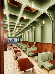 restaurant architecture bluarch wraps times square diner with soft green interior in new york houserestaurant Restaurant Design, Architecture Restaurant, Interior Architecture, Interior And Exterior, Restaurant Restaurant, Luxury Restaurant, Modern Restaurant, Room Interior, Café Design