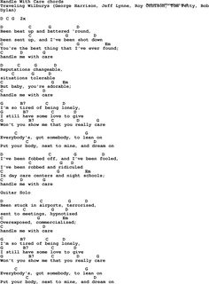 Song Lyrics with guitar chords for Handle With Care