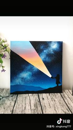 Canvas Painting Designs, Canvas Painting Tutorials, Diy Canvas Art, Acrylic Painting Canvas, Watercolor Paintings, Skyline Painting, Cartoon Painting, Cool Art Drawings, Cute Art