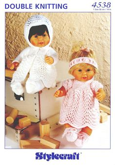 "FREE - KNIT ~ to fit dolls 14"" tall Knitted Doll Patterns, Knitted Dolls, Baby Knitting Patterns, Crochet Dolls, Baby Patterns, Free Knitting, Knitting Stiches, Knitting Toys, Knitted Baby"
