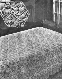 crochet pattern for Popcorn Pinwheel Bedspread - worth getting this vintage crochet pattern