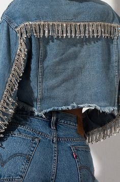 jacket AKIRA Label Light Wash Rhinestone Fringe Cropped Denim Jacket in Light Blue Denim Fashion, Look Fashion, Fashion Outfits, Tomboy Outfits, Fashion Hacks, Lolita Fashion, 90s Fashion, Hijab Fashion, Korean Fashion