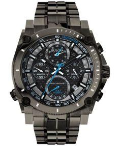 Bulova Men's Chronograph Precisionist Gray-Tone Stainless Steel Bracelet Watch 47mm 98B229